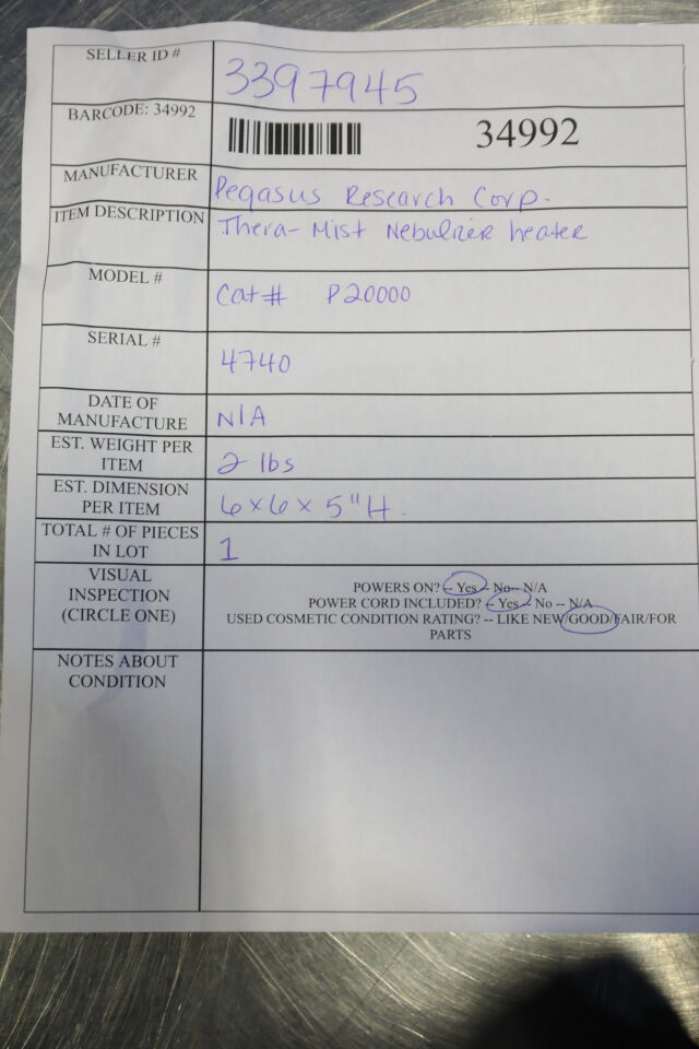 PEGASUS RESEARCH Thera-Mist Nebulizer