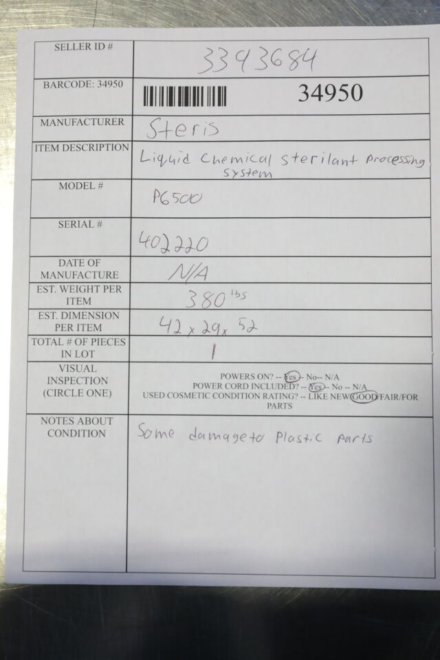 STERIS P6500 Sterilizer