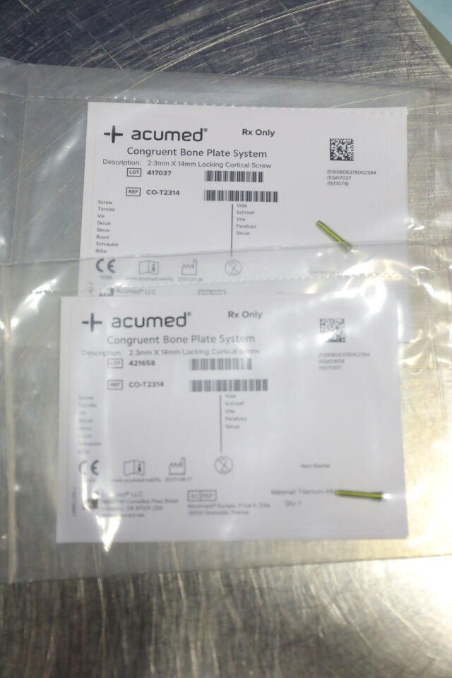 ACUMED Various Screws, Drill Bits, Plate, Guidewires