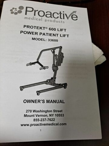 PROACTIVE MEDICAL PRODUCTS Protekt 600 Model 33600 Patient Lift