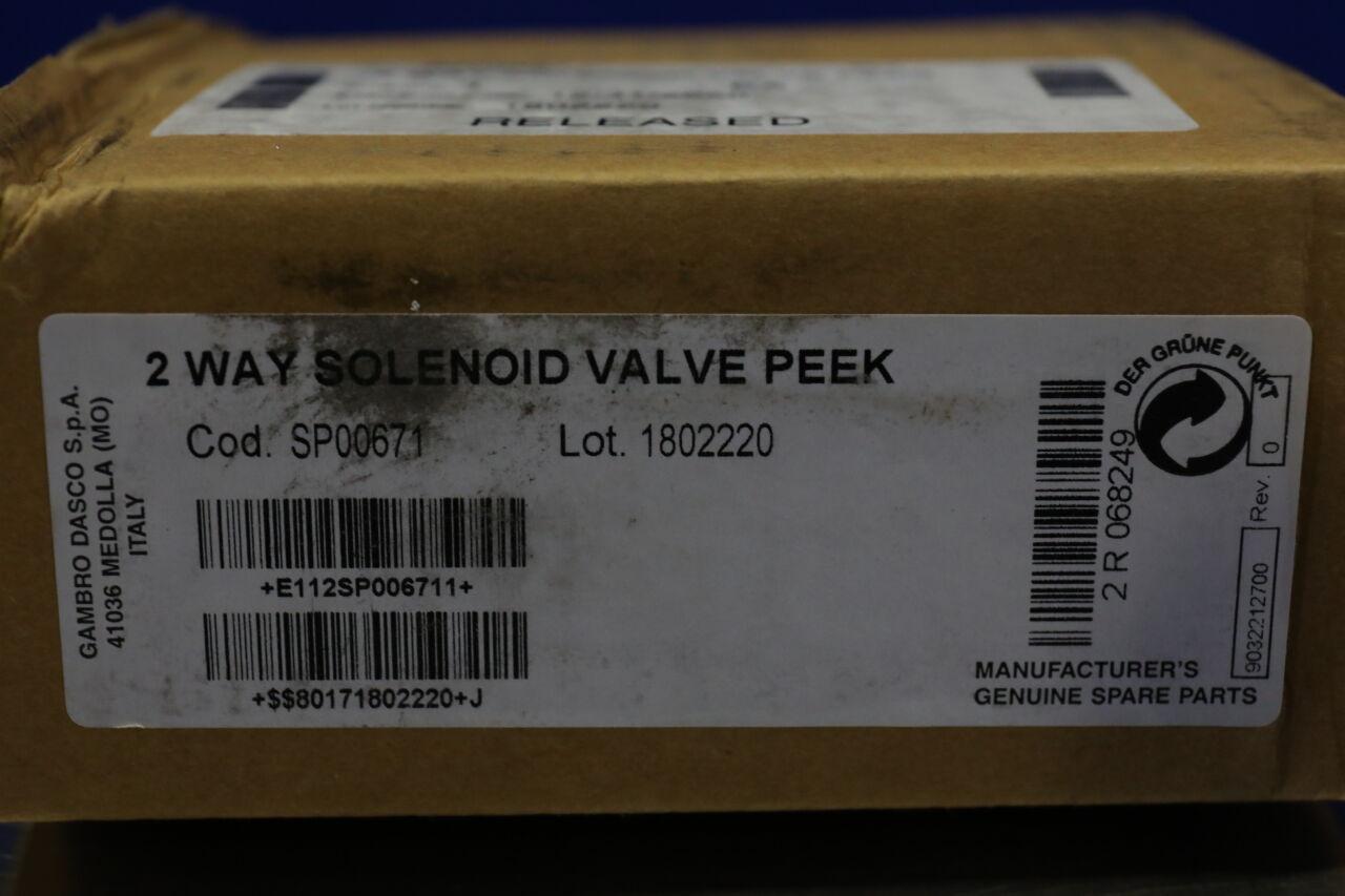 GAMBRO DASCO SP00671 2 Way Solenoid Valve PEEK Dialysis Machine