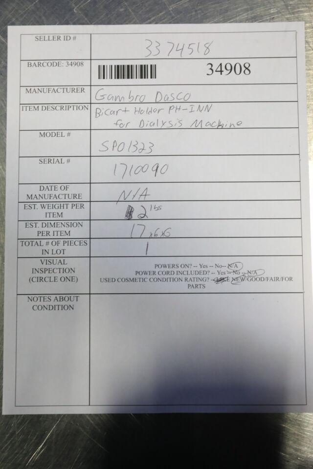 GAMBRO DASCO SP01323 BiCart Holder PH-INN Dialysis Machine
