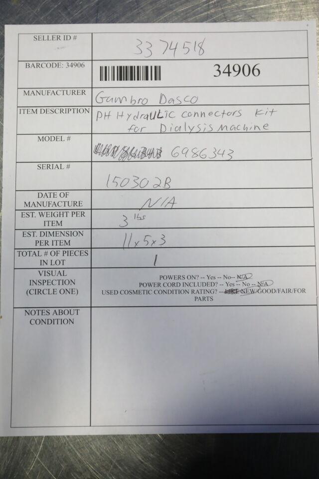GAMBRO DASCO 6986343 PH Hydraulic Connectors Kit Dialysis Machine