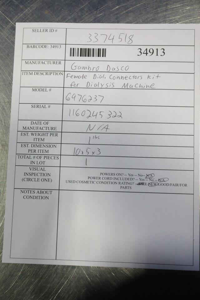 GAMBRO DASCO 6976237 Female Dial Connectors Kit Dialysis Machine