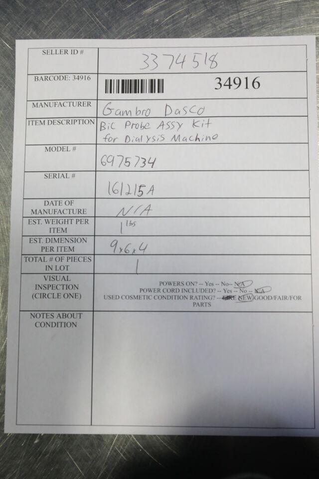 GAMBRO DASCO 6975734 Bic Probe Assy Kit Dialysis Machine