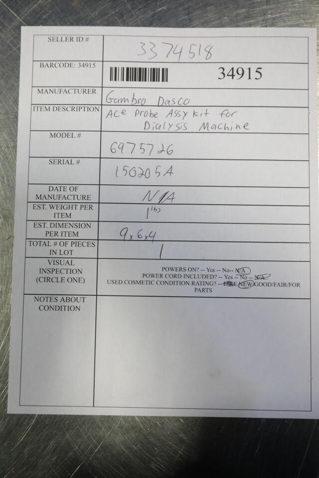 GAMBRO DASCO 6975726 Ace Probe Assy Kit Dialysis Machine