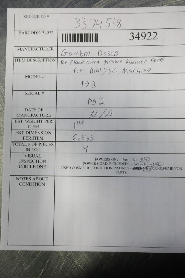 GAMBRO DASCO Various Replacement Pressure Reducer Parts for Dialysis Machine