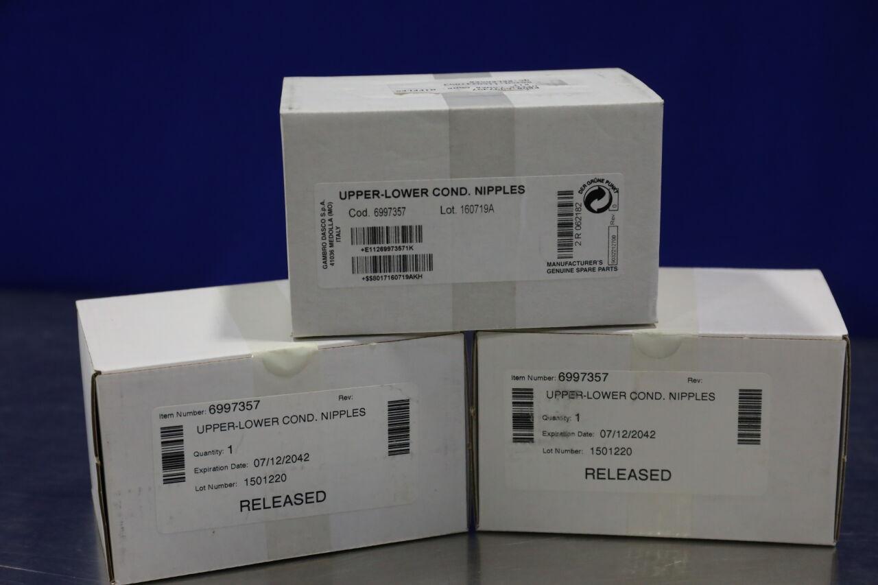 GAMBRO DASCO 6997357 Upper-Lower Condi Nipples - Lot of 3 Dialysis Machine