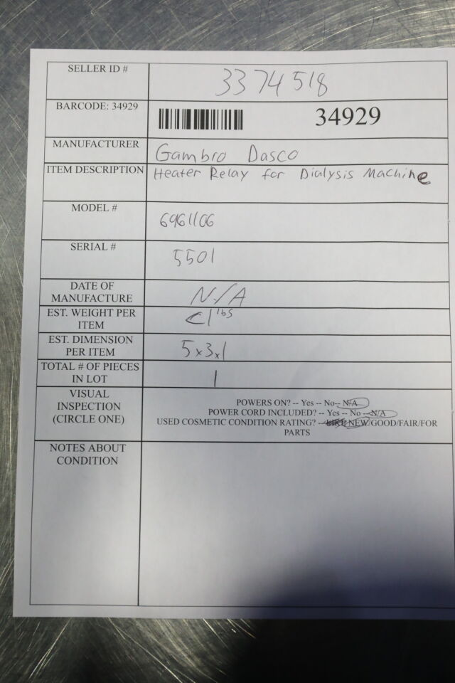 GAMBRO DASCO 6961106 Heater Relay Dialysis Machine