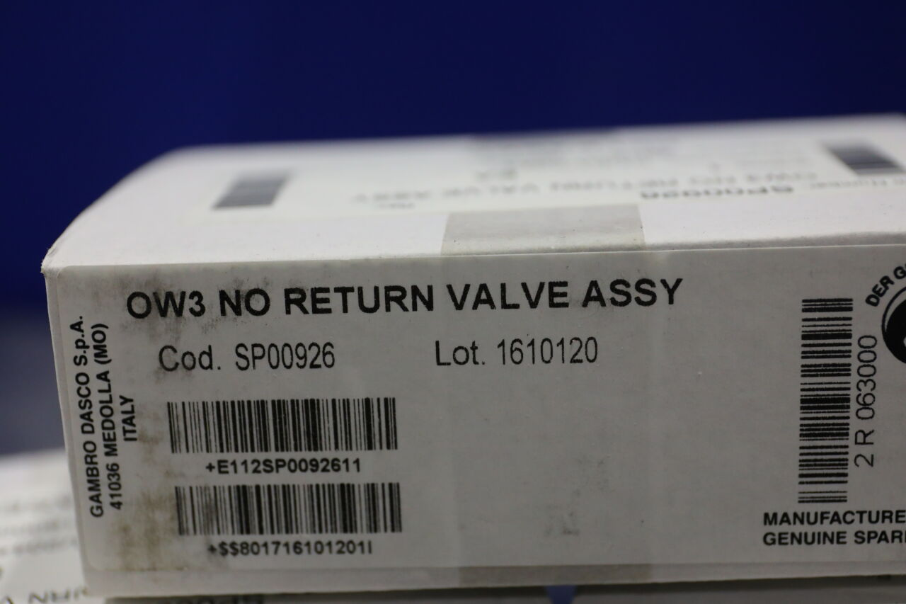 GAMBRO DASCO SP00926 OW3 No Return Valve Assy - Lot of 3 Dialysis Machine