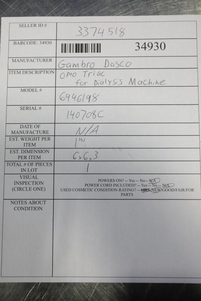 GAMBRO DASCO 6946198 Opto Triac Dialysis Machine