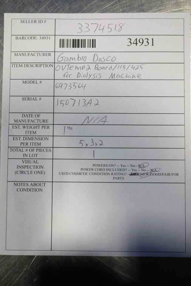 GAMBRO DASCO 6973564 OVTemp 2 Board Dialysis Machine