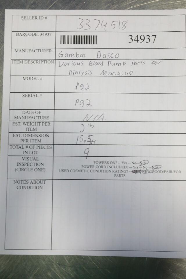 GAMBRO DASCO Various Blood Pump Parts for Dialysis Machine