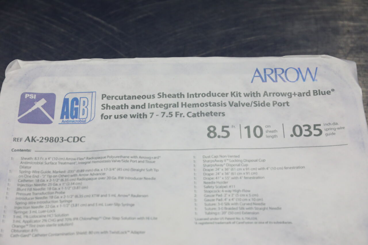 ARROW AK-29803-CDC Percutaneous Sheath Introducer Kit w/ Arrowgard Blue - Lot of 2