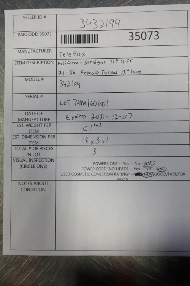 TELEFLEX 342104 Filiform Straight Tip - Lot of 3