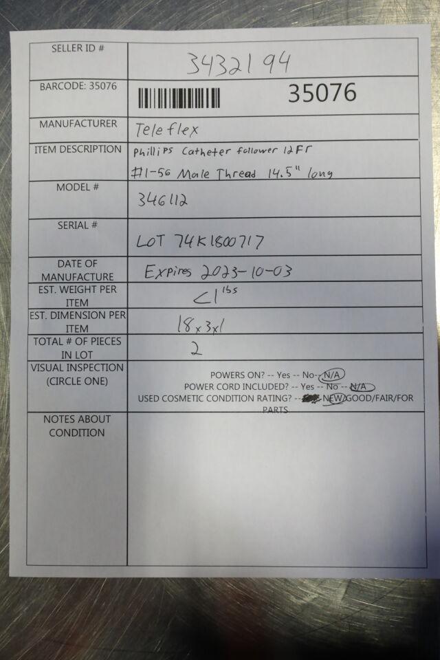 TELEFLEX 346112 Philips Catheter Follower - Lot of 2