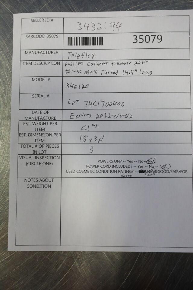 TELEFLEX 346120 Philips Catheter Follower - Lot of 3