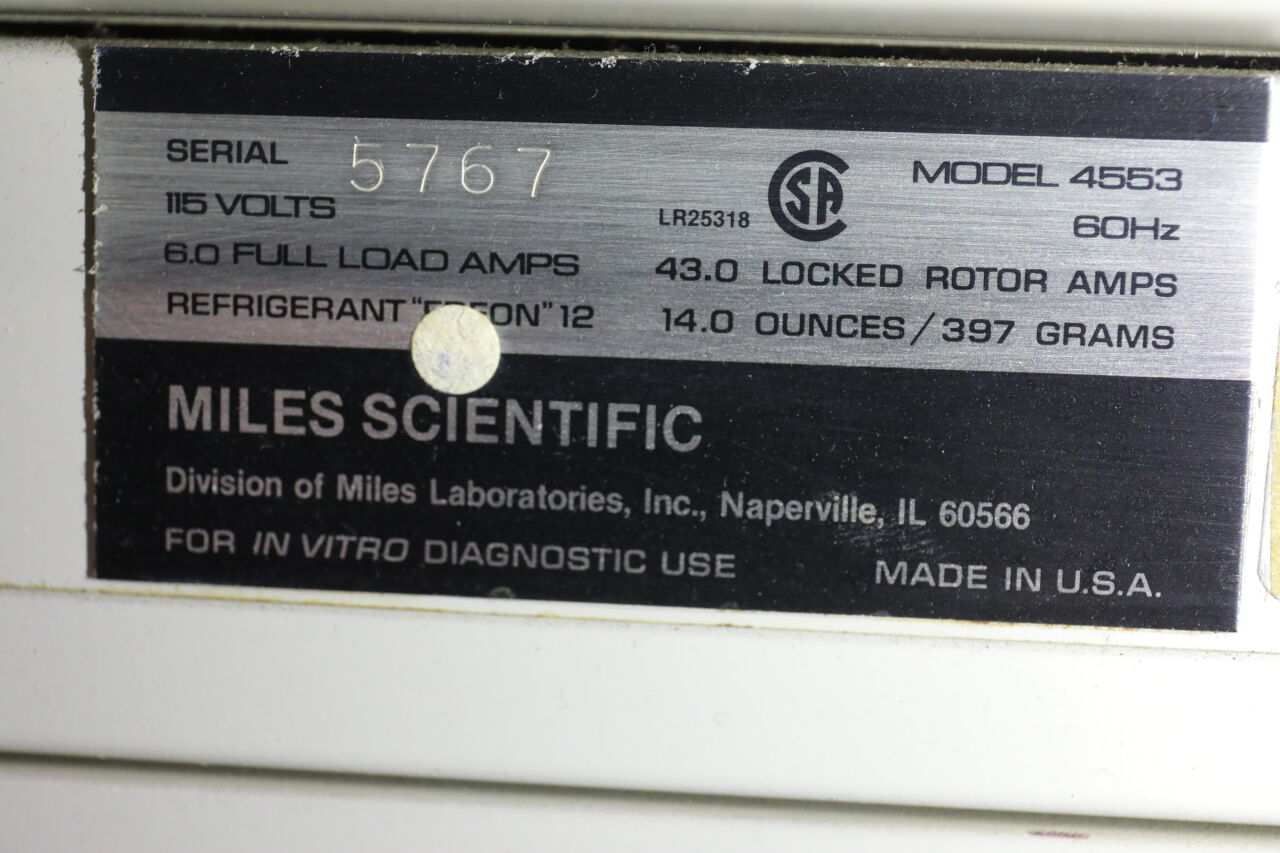 MILES SCIENTIFIC TissueTek 4553 Cryostat