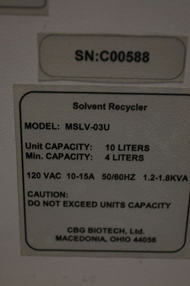 CBG BIOTECH MSLV-034 Solvent Recycler