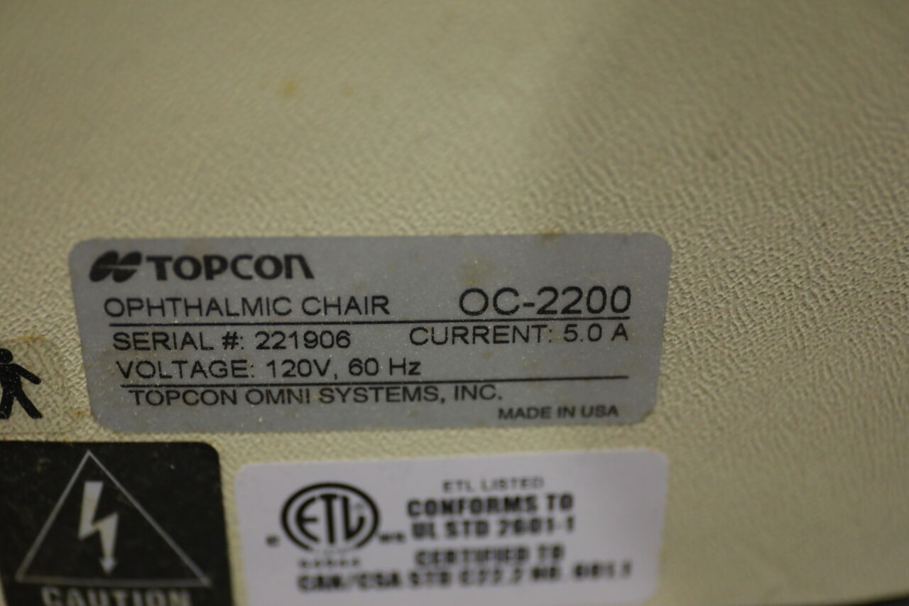 TOPCON OC-2200 Ophthalmic Chair