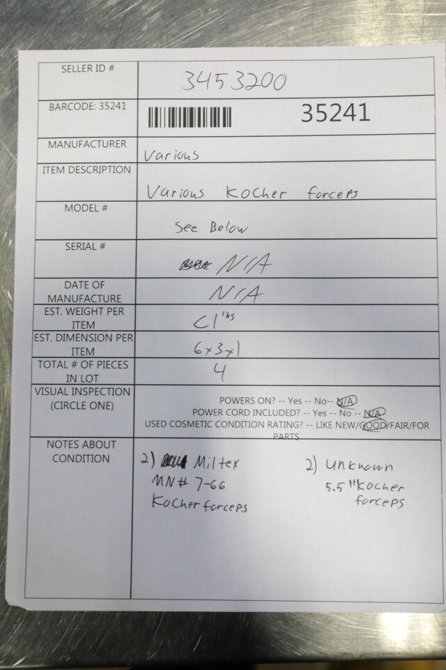 VARIOUS  Kocher Forceps - Lot of 4