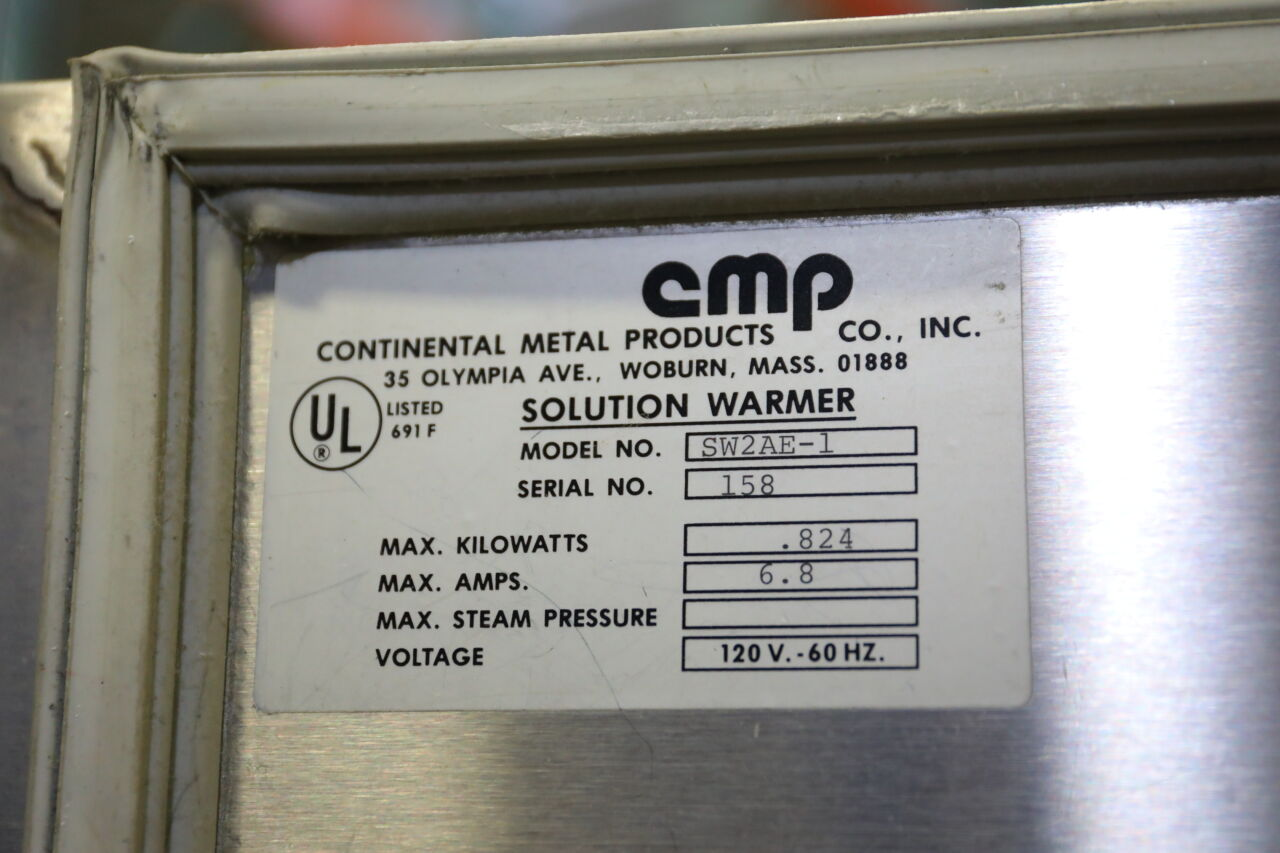 CONTINENTAL METAL PRODUCTS SW2AE-1 Blanket / Solution Warmer