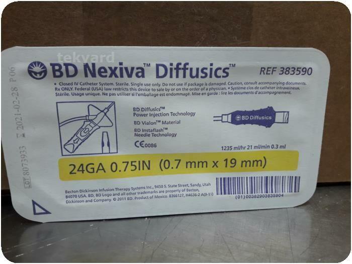 LOT OF 21  BD 383590 Nexiva Diffusics Closed IV Catheters