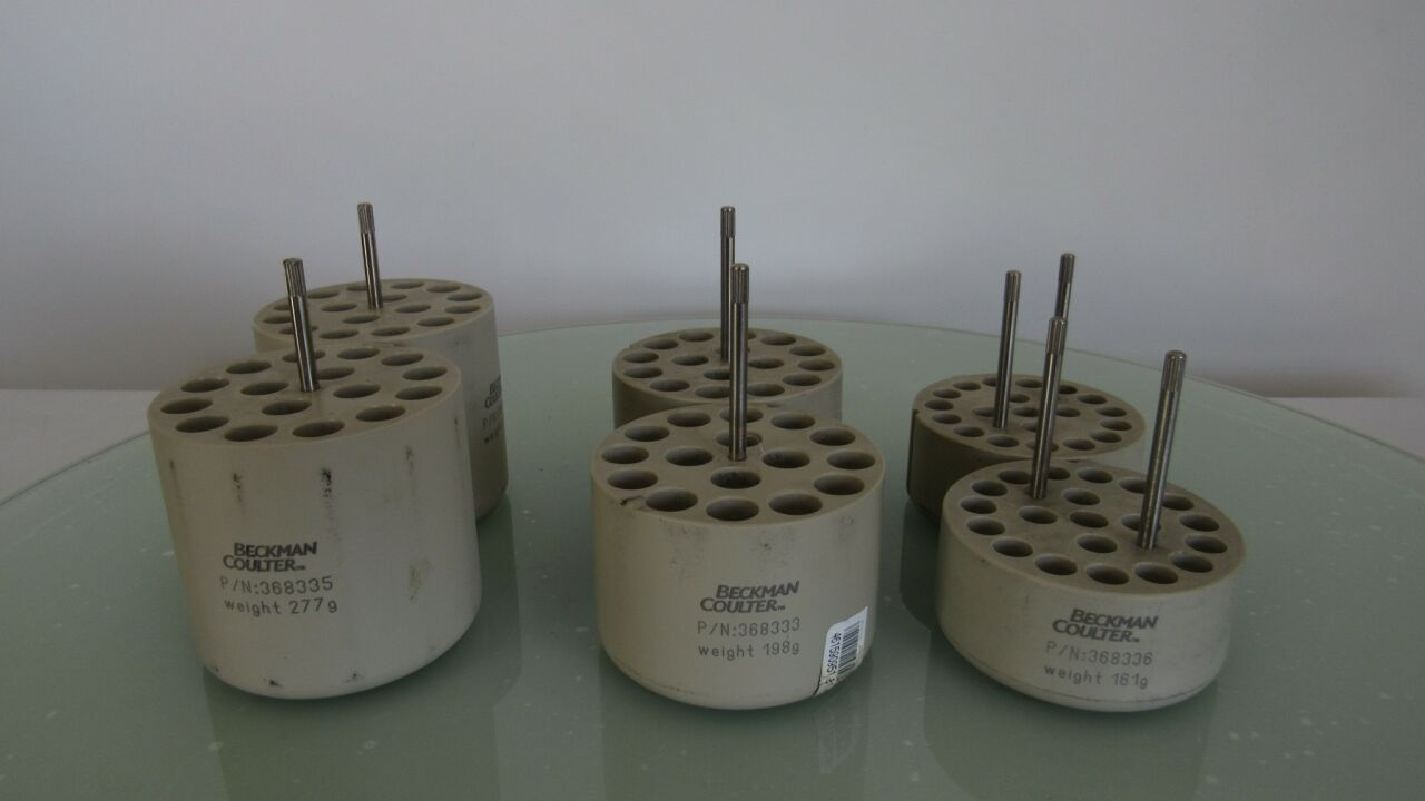 BECKMAN COULTER Various Rotor Buckets and Adapters for Centrifuge