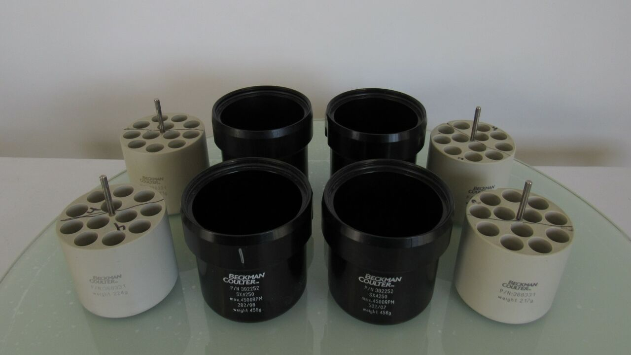 BECKMAN COULTER Various  - Lot of 8 Rotor Buckets and Adapters for  Centrifuge