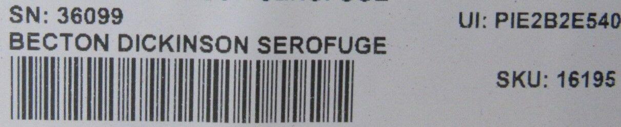 BECTON DICKENSON Serofuge Centrifuge