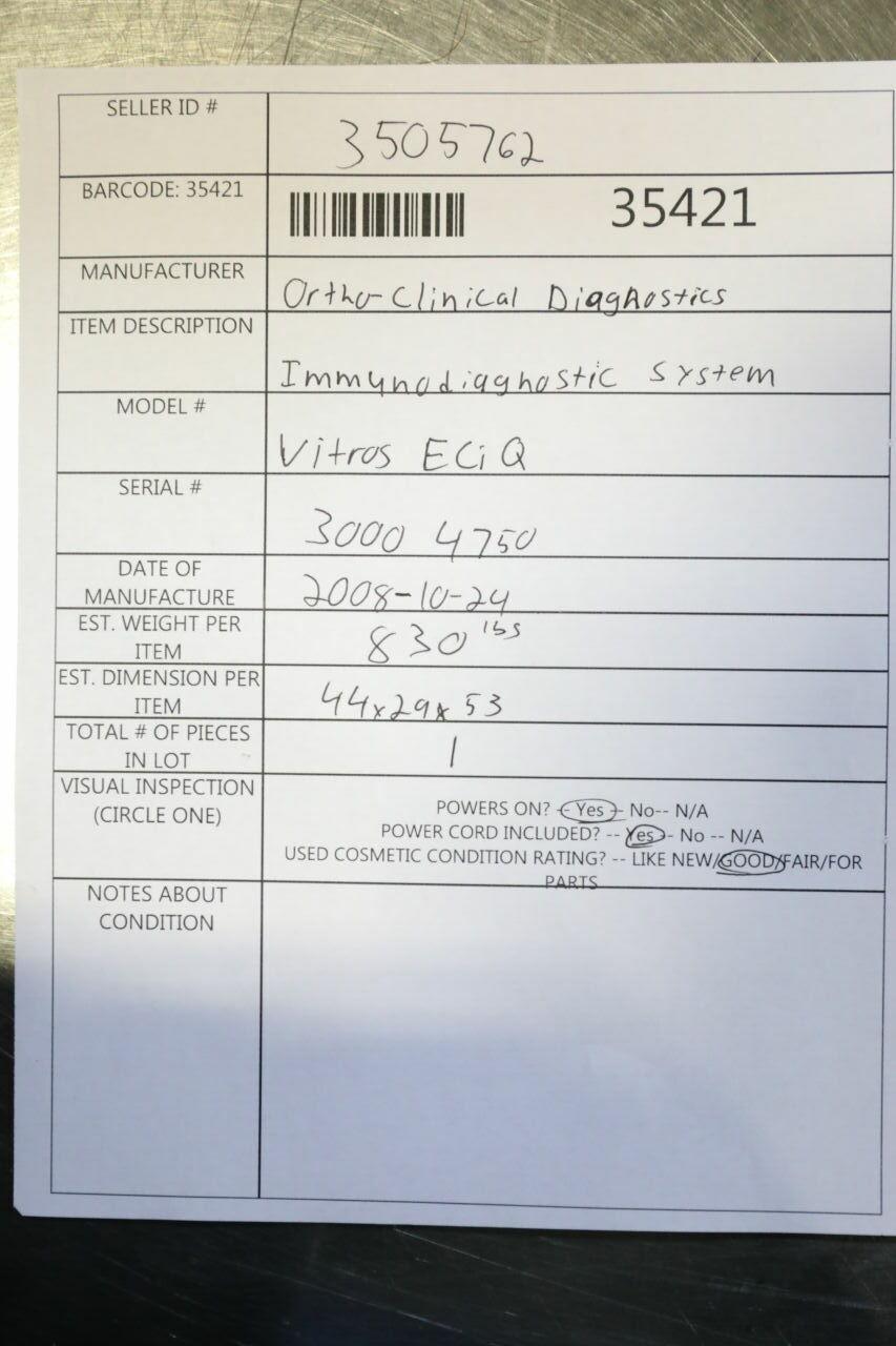 ORTHO CLINICAL DIAGNOSTICS Vitros 4750 Chemistry Analyzer