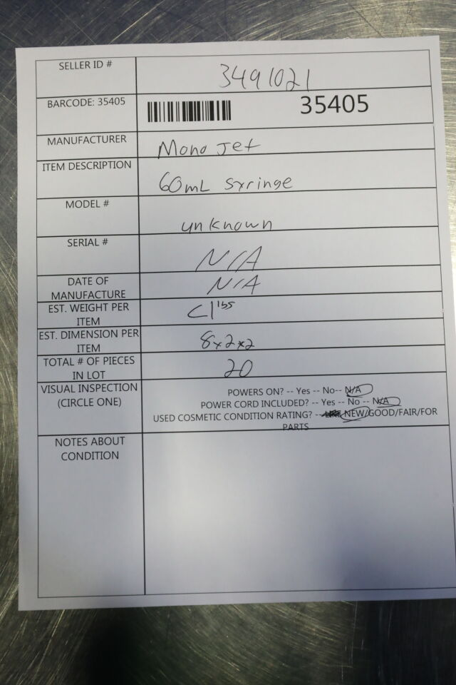 MONOJET  60 mL Syringe - Lot of 25