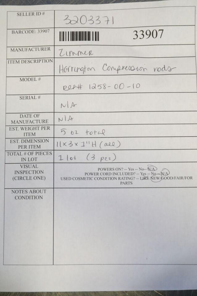 ZIMMER 1258-00-10 Harrington Compression Rods - Lot of 3