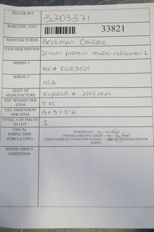 BECKMAN COULTER ODR3021 Serum Protein Multi-Calibrator