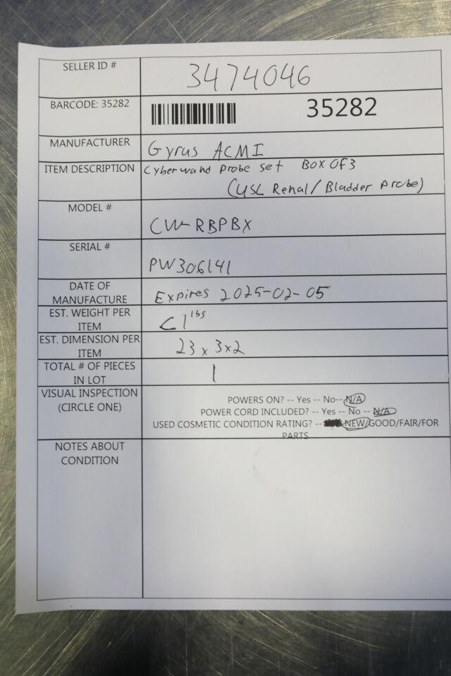 GYRUS ACMI CW-RBPBX Cyberwand Probe Set