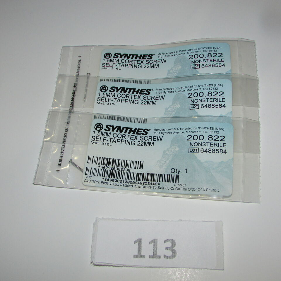 SYNTHES 200.822 SYNTHES 200.822 1.5MM CORTEX SCREW LOT OF 3