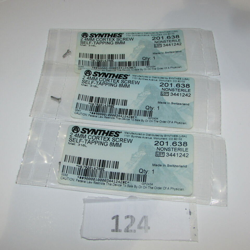 SYNTHES 201.638 SYNTHES 201.638 2.4MM CORTEX SCREW LOT OF 3
