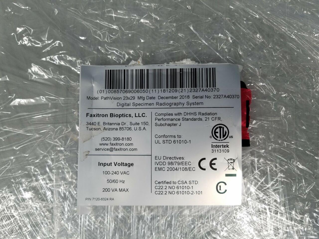 FAXITRON BIOPTICS PathVision 23 x 29cm Digital Specimen Radiography System (New)