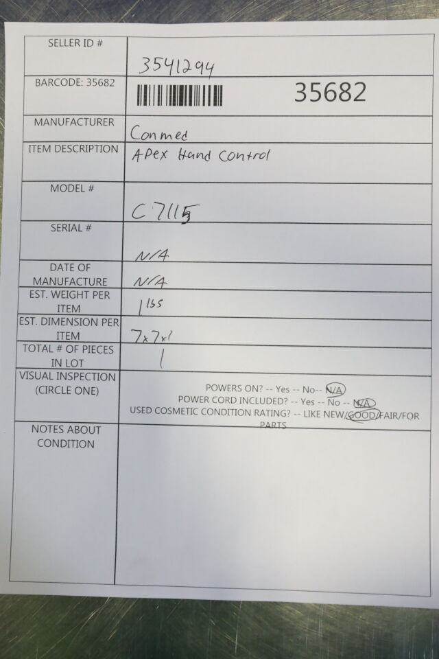 CONMED Apex C7115 Hand Controller