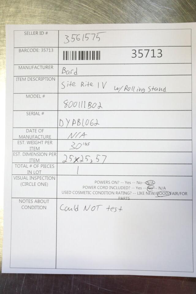 BARD Site Rite IV Ultrasound Machine w/ Rolling Stand
