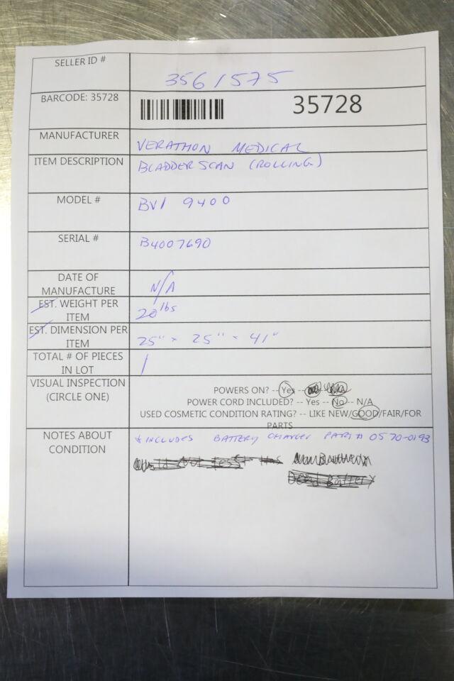 VERATHON Bladderscan BVI 9400 Urology