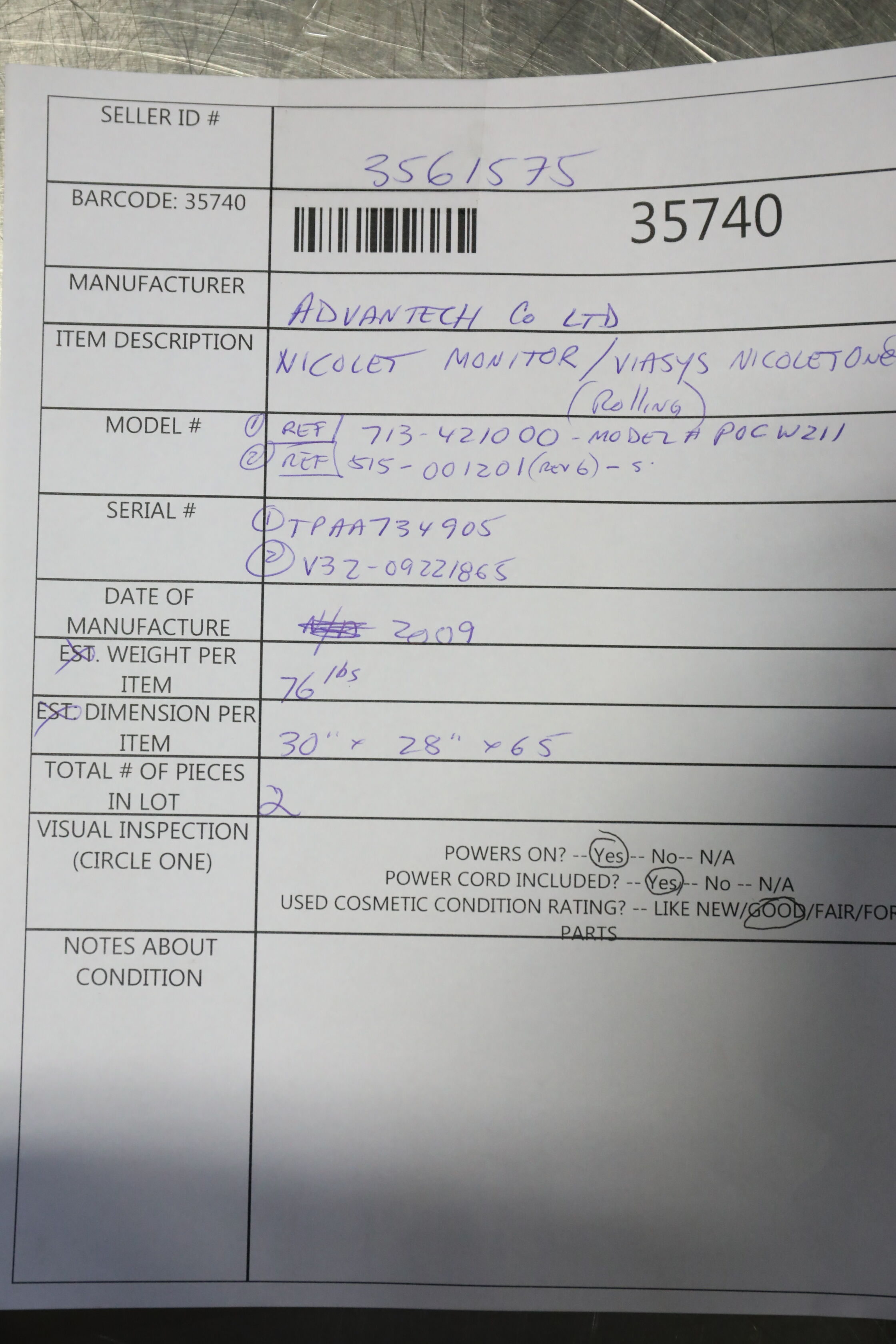 ADVANTECH CO / NICOLET POCW211 EEG Unit