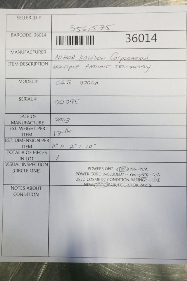 NIHON KOHDEN ORG-9700A Receiver Telemetry