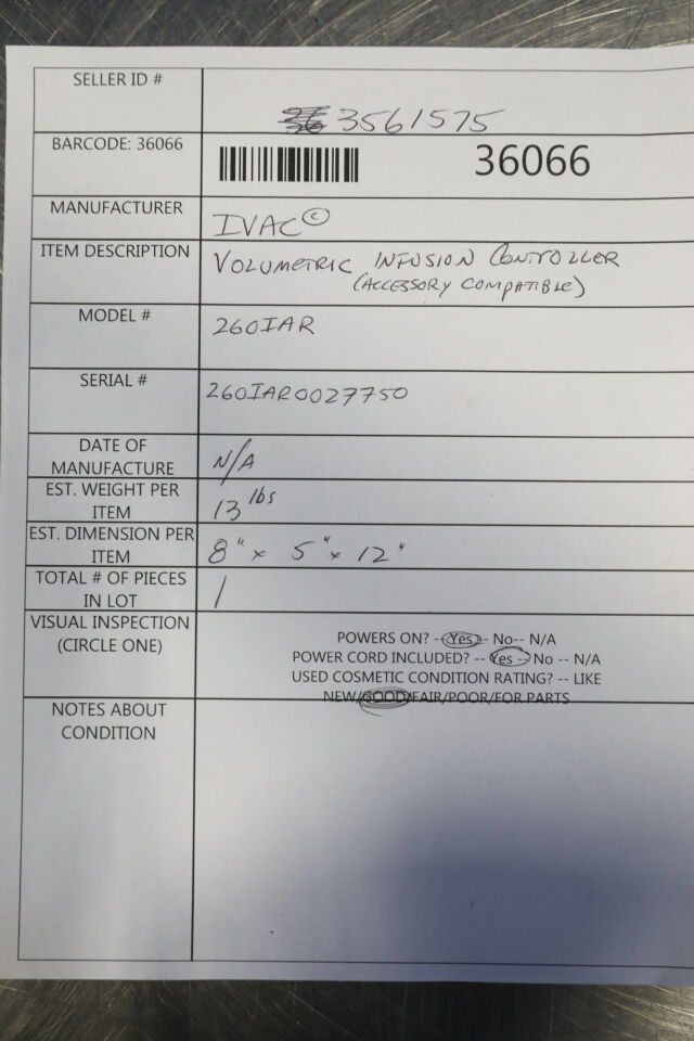 IVAC 260IAR Pump IV Infusion