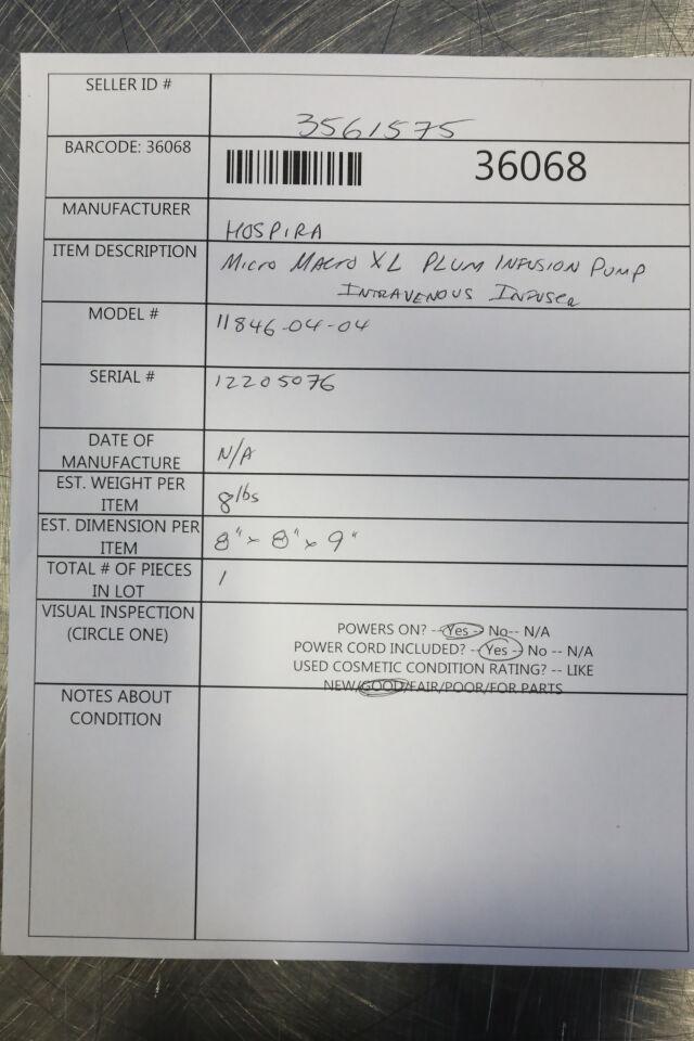 HOSPIRA Micro Macro XL Plum Pump IV Infusion