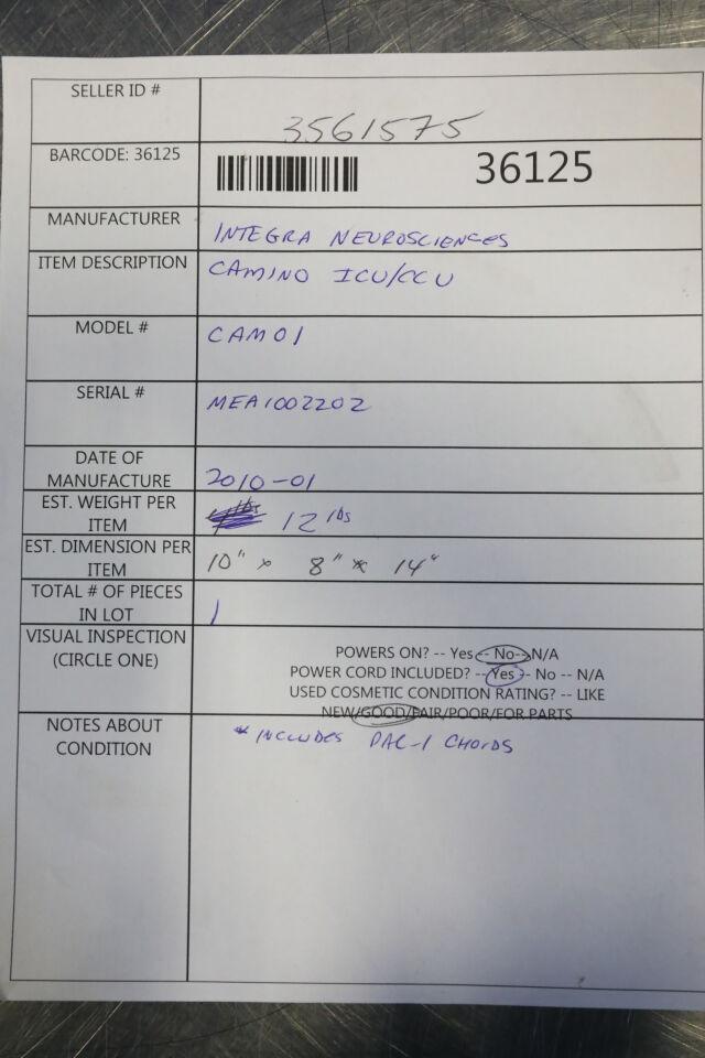 INTEGRA NEUROSCIENCES Camino Cam01 Monitor
