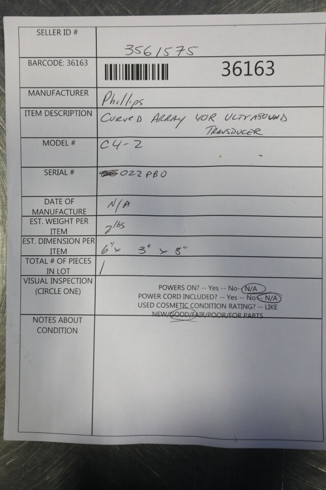 PHILIPS C4-2 Ultrasound Transducer