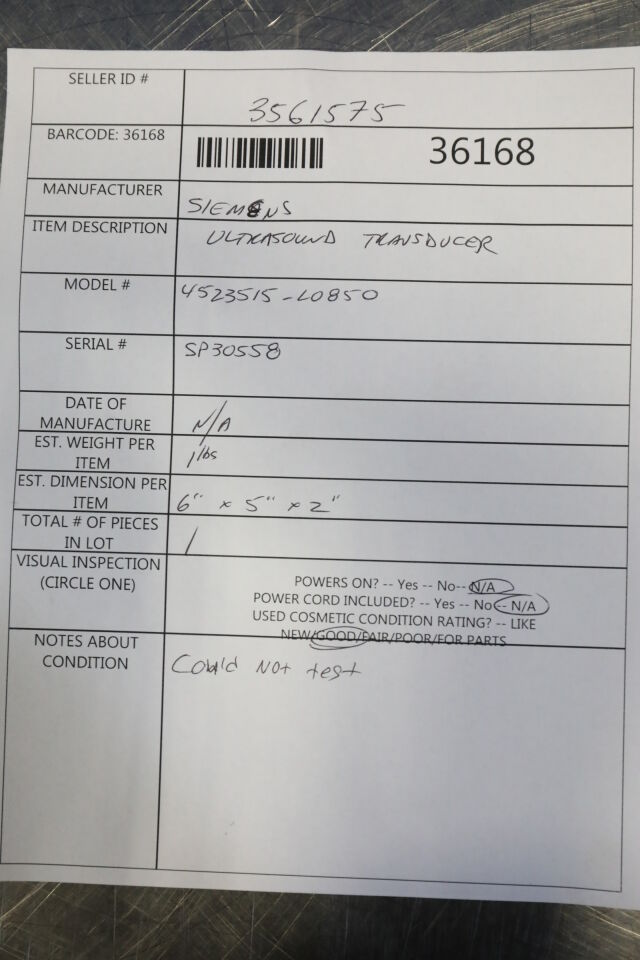 SIEMENS 4523515-L0850 Ultrasound Transducer