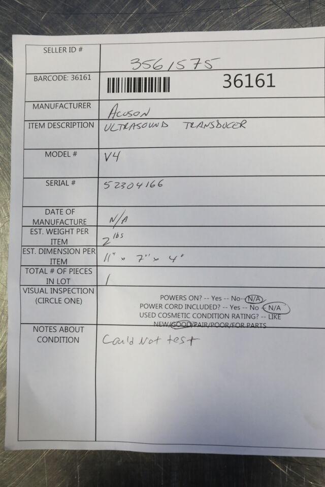 ACUSON V4 Ultrasound Transducer