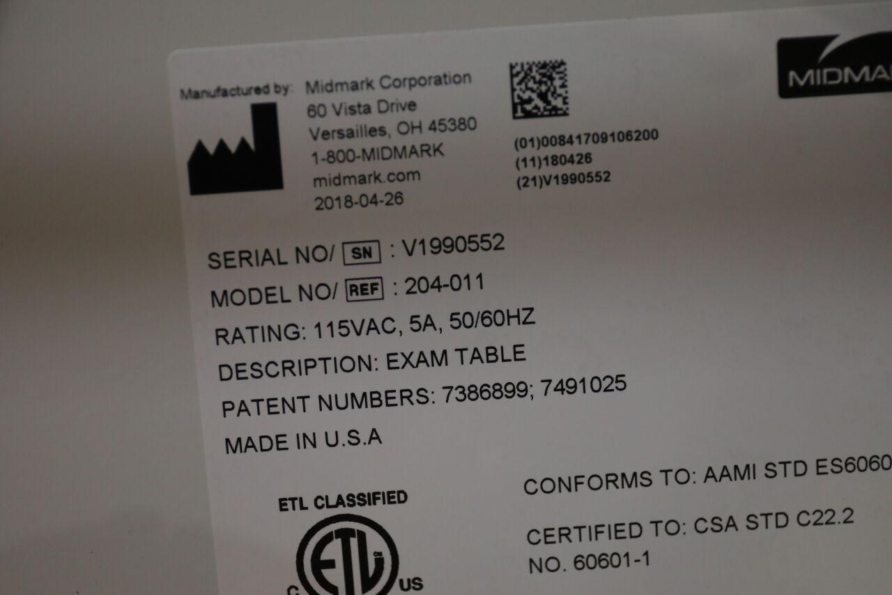 MIDMARK 204-011 Exam Table